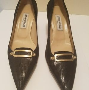 Jimmy Choo Black heels with gold buckle 40